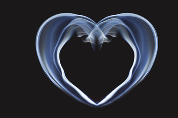 Abstract of love. Heart from smoke.Black and white.