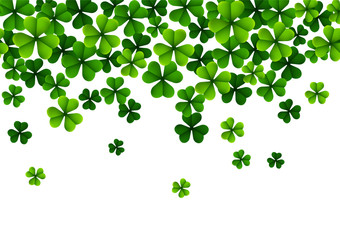 Happy Saint Patricks Day Background with clover leaves