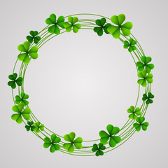 Saint Patrick's Day background with shamrock leaves round frame