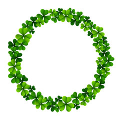 Circle frame with clover leaves for St. Patrick's day isolated on white background