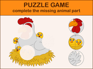 Cute hen cartoon with chicks in the nest. Complete the puzzle and find the missing parts of the picture