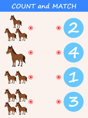 Count and match horse cartoon. Math educational game for children