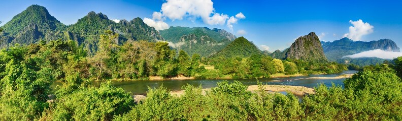 Amazing landscape of river among mountains. Laos panorama.