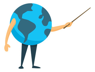 Earth planet teaching or holding a pointer in presentation