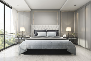 3d rendering modern luxury classic bedroom with marble decor