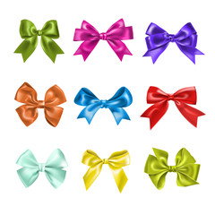 Set of colorful gift bows with ribbons. Decoration for a gift.