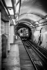 Aluminium Prints Train Station Underground city subway platform