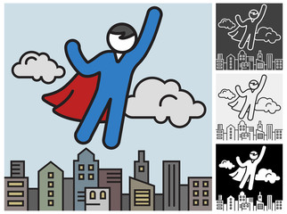 Flying men in a superhero costumes save city, icon. Vector