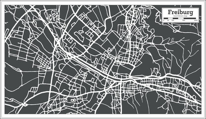 Freiburg Germany City Map in Retro Style. Outline Map.