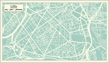 Lille France City Map in Retro Style. Outline Map.