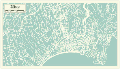 Nice France City Map in Retro Style. Outline Map.