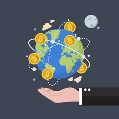 Cryptocurrency Bitcoin Global Network Technology