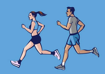 people running set