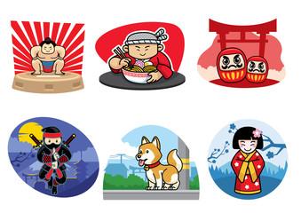 japan badge design set