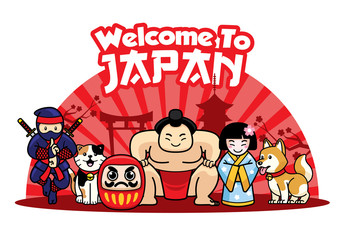 welcome to japan with cute characters