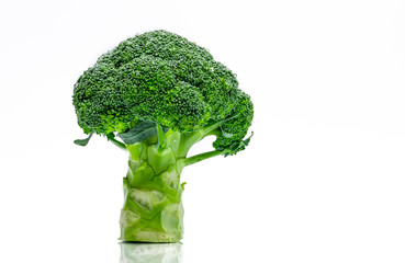 Green broccoli (Brassica oleracea). Vegetables natural source of betacarotene, vitamin c, vitamin k, fiber food, folate. Fresh broccoli cabbage isolated on white background.