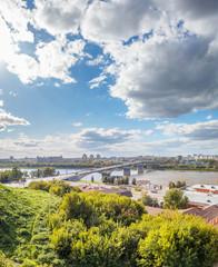 View of the Canavinsky Bridge in Nizhny Novgorod, Russia