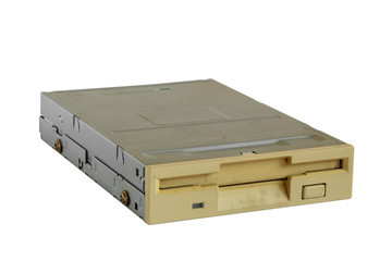Floppy disk drive on white background