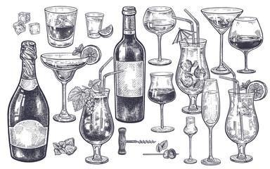 Alcoholic drinks set.
