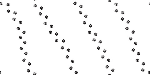 Dog Paw Seamless vector Pattern foot print cat paw isolated walk white
