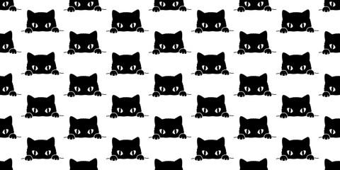 Cat Seamless Pattern Halloween vector black cat isolated kitten wallpaper background