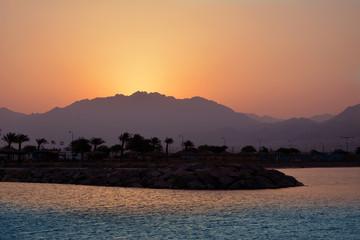 Sea sunset in Eilat, Israel