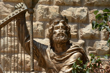 Statue of King David. David`s Tomb at Mount Zion, Jerusalem, Israel