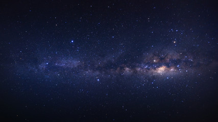 Panorama clearly milky way galaxy with stars and space dust in the universe