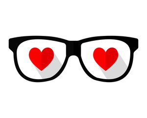heart love eye glasses optics image vector icon logo