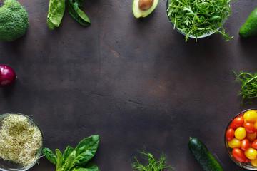 Frame from set of ingredients for detox salad