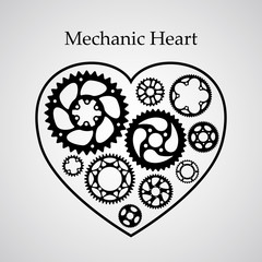Valentine holiday postcard. Strict style black vector silhouette gears and cogs in heart shape frame. Symbol of love for wedding and anniversary in a new modern way.