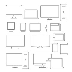 Modern devices and gadgets line icons set