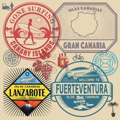 Travel stamps or symbols set Canary Islands