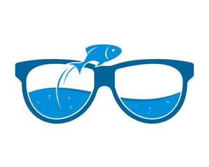 jump fish aquarium eye glasses optics image vector icon logo