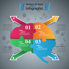 Brain Infographics origami style Vector illustration. Business icon.