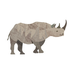 Detailed illustration of an adult rhinoceros in a profile view.