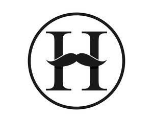 mustache beard gentleman fashion barber typography image vector icon logo
