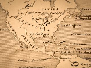 古い世界地図 北米大陸