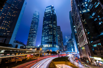 Fotomurales - Hong Kong Central Business District at Night with Light Track