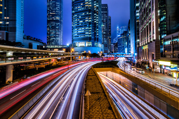 Hong Kong Central Business District at Night with Light Track