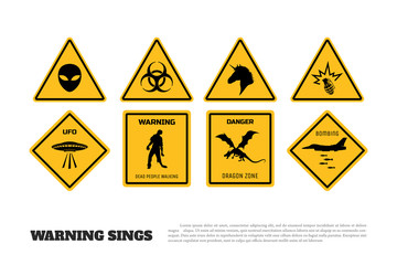 Comic fantasy yellow warning signs. Set of danger stickers and icons