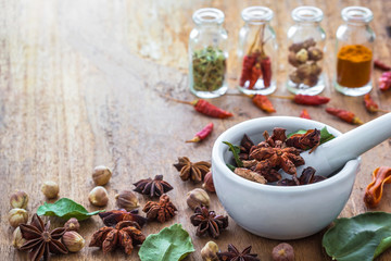 Mortar grinder and herb medicine on wood table