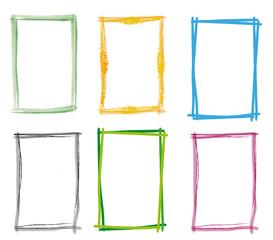 Rahmen Set grün blau Frames mit Pinselstrich