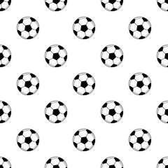Black and white simple soccer balls seamless pattern, vector