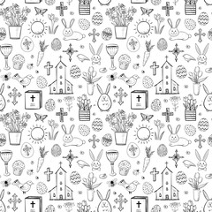 Seamless pattern with easter doodle sketches on white background