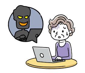 シニア女性:インターネット、犯罪、詐欺