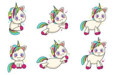 Set of cute unicorns with different poses