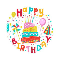 Happy birthday. Vector greeting card