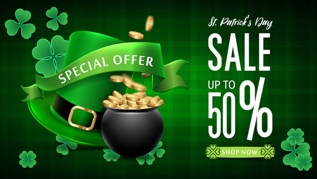 Saint Patrick's Day Sale background. Banner St. Patrick's Day Sale. Saint Patrick's Day Sale Web Banner. Festive Composition with Beer Glass, Golden Coins and Clover Leaves.