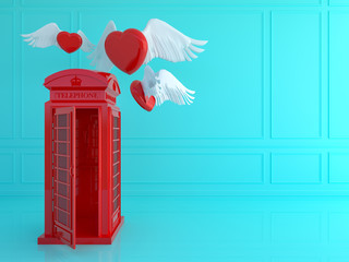 Red london telephone booth with red heart in blue room .Love travel london concept.3d render